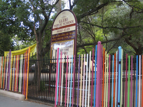New developments in Glebe include public art such as this spectacular fence at Glebe Public School, designed by Nuha Saad