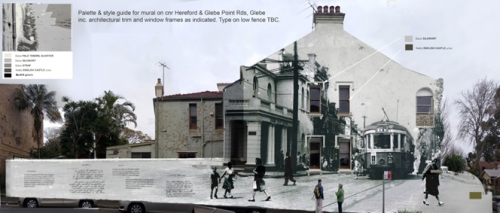 Artist's Impression of the 'Memories of Trams' mural to be painted on the corner of Glebe Point Rd and Hereford St (Image supplied by artist)