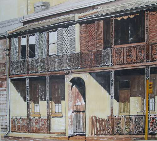 """""""Glebe"""" painted by Bob Phillips in Glebe in the late 1970's or 1980. The painting captures the feel of inner west terrace houses of the times with characteristic shutters, screens and iron tracery, well before 21st century renovators set to work."""