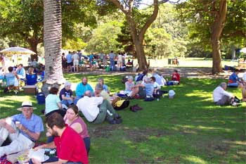 Picnic at Clifton Gardens during a stop in our Wander on the Water cruise, 2004. Photo by Bruce Davis