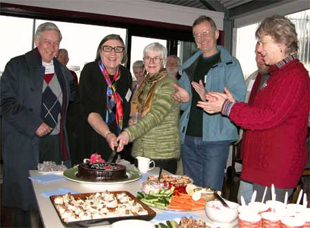 Members from L-R, anxious to get to the cake, are Andrew Wood, Edwina Doe, Alison McKeown, Ted McKeown and Jan Macindoe Photo: Bruce DavisAlison McKeown, Ted McKeown and Jan Macindoe