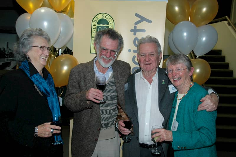 Robyn Kemmis, John Dengate, Jack Mundey and Lesley Lynch at the Glebe Society's 40th anniversary party in June 2009 (photo: Phil Young)
