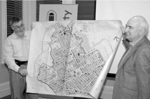1974 Conservation Area Map of Glebe displayed by Tony Strachan helped by Bruce Davis (photo by Phil Young)