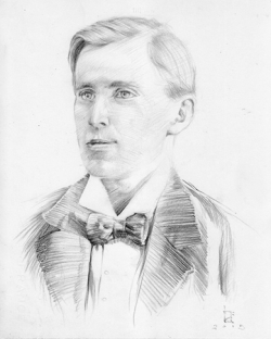 Alfred Shearsby as a young man. (Sketched by Kim Nelson from a photograph)