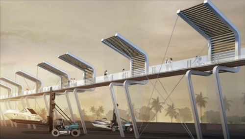 An idea mooted for the Bays Precinct redevelopment. 'A concept similar to New York's High Line, Bays Skywalk is an elevated architectural walkway above the western shore of Rozelle Bay curving around the working harbour along the northern shore'. (http://thebayssydney.com.au/)
