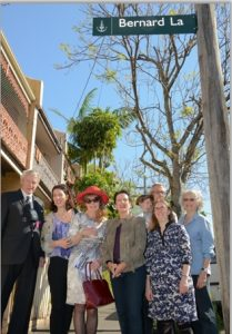 (L to R) Don Heathcote (son-in-law), Kate Challis (grand-daughter), Elizabeth Heathcote (daughter), Clover Moore (Mayor), at rear are Jasper Hollo (great grandson), Andrew Hollo (Kate's husband), Sarah Smith (grand-daughter), and Robyn Kemmis (Deputy Lord Mayor). (image: Phil Young)