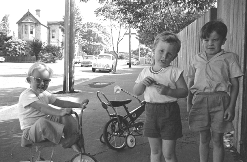 One of the images from the Bernard Smith Collection: Mitchell and Westmoreland St Glebe. Children playing with bikes in street. (image: Bernard Smith Collection, City of Sydney Archives)
