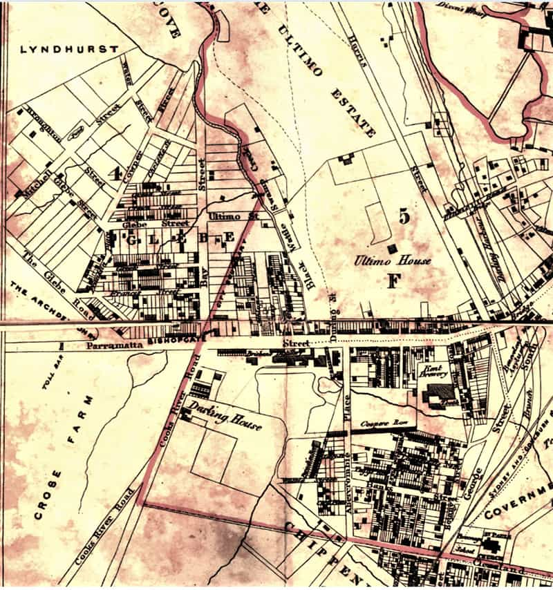 Detail from a map of the City of Sydney by Woolcott & Clarke, 1854.