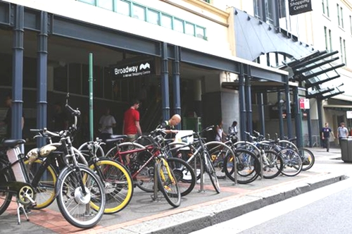 Bike racks at the Bay St entrance of Broadway Shopping Centre, (image: News Limited)