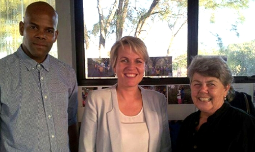 Friends of Centipede Committee members, Jonathan Allen and Janice Challinor, with Tanya Plibersek (centre) (Image supplied)