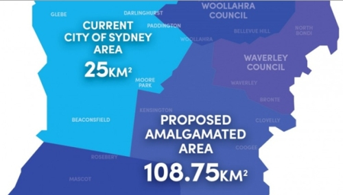 Map showing proposed amalgamation of City of Sydney council with other councils (image: clovermoore.com.au)