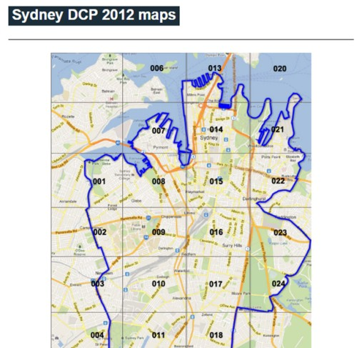 Screenshot of the website for the City of Sydney's Heritage Development Control Plan (DCP) (http://www.cityofsydney.nsw.gov.au/development/planning-controls/development-control-plans/sydney-dcp-2012-maps)