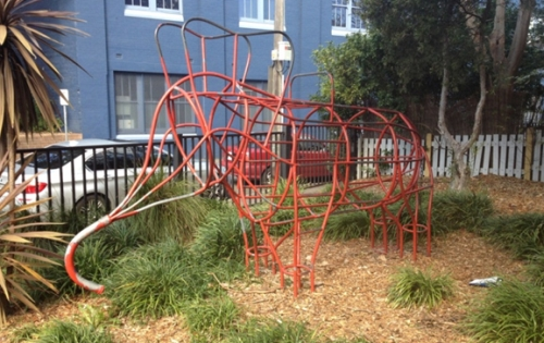 "The play structure which has lent its name to the park colloquially known as ""Elephant Park"". The park is to be officially named ""Robyn Kemmis Park"" (image: Laura Appleyard)"