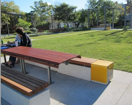 The new picnic tables at Foley Park (image: Jan Macindoe)