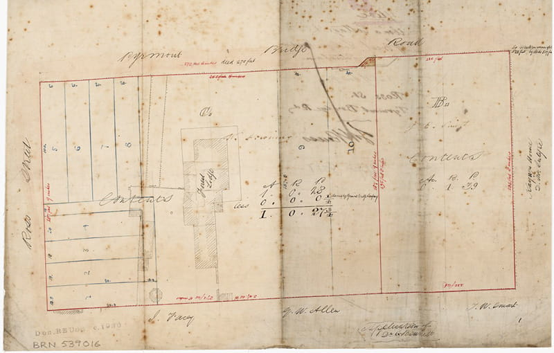The plan showing Forest Lodge near the intersection of Ross St and Pyrmont Bridge Rd (Source: SLNSW [Mitchell Map Collection Maps/0528 ]; date uncertain)