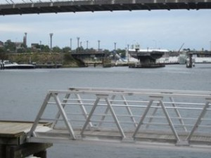 Glebe Island Bridge viewed from he Glebe foreshore