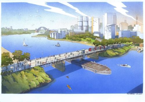 Artist's impression of a possible future for the Glebe Island Bridge (image:  City f Sydney via http://glebeislandbridge.com/future.html)