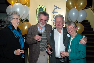 Robyn Kemmis, John Dengate, Jack Mundey and Lesley Lynch celebrating the Glebe Society's 40th anniversary.