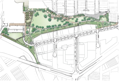 Plans for open space at Harold Park (image: Attachment A: Refined Plan of Works Harold Park Embellishment Works)