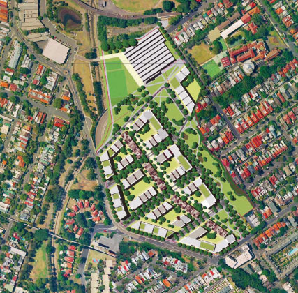 Proposed Harold Park layout - Tramsheds at the top.