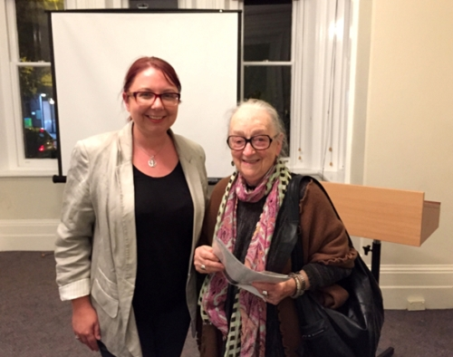 Dr Holly Parsons with Norma Hawkins after Holly's lecture to the Society about the lives and times of Superb Fairy-wrens. (image: Tony Tan).