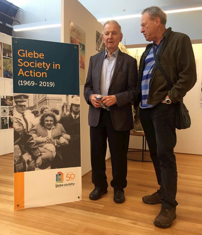 Jack Mundey and Allan Hogan at the Glebe Society 50th anniversary Community Festival in June 2019