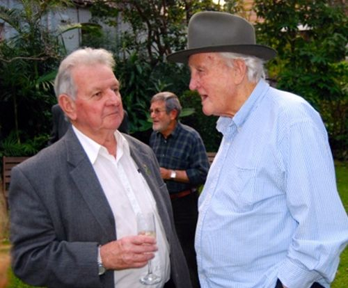 Tom with his old mate Jack Munday at the Society's 40th anniversary party at Margaretta Cottage in 2009. (Image: Bruce Davis)