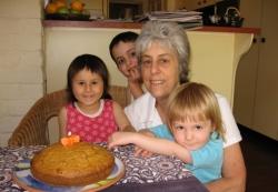 Jan with her three grandchildren, Sascha, Silvan and Hazel (photo: Imogen Craney).