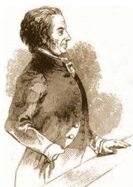 John Tawell on trial, sketched by a court artist (source unknown)