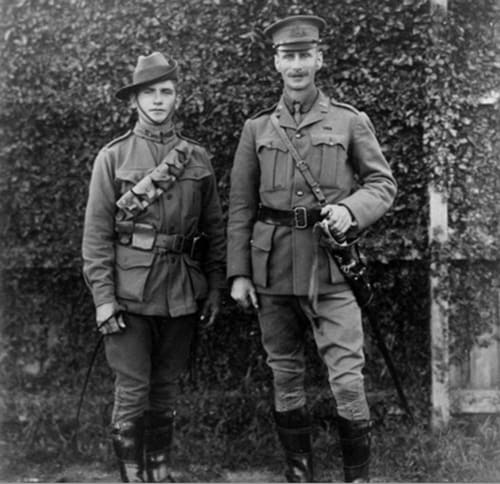 Major Hugh Vernon, second in command, 1st Light Horse Regiment (New South Wales Lancers) and Trooper Clark, Batman, of the same regiment, 1914. (Image: AWM)