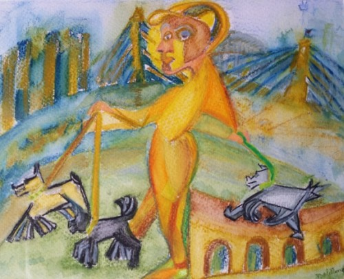 'Mark walks the dog, talking about Picasso' by Dale Dengate. (Image: V. Simpson-Young)
