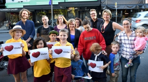 Glebe and Forest Lodge locals objecting to the McDonald's 'pop-up' store in the iconic Valhalla Cinema building (Photo: Steven Siewert, SMH)