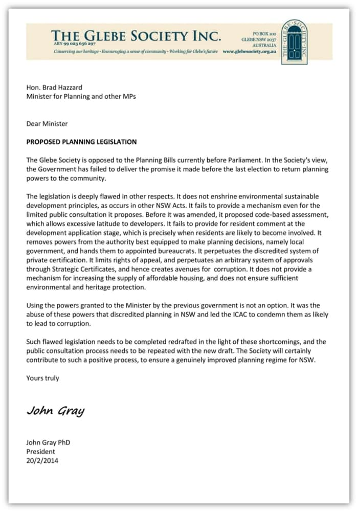Glebe Society letter to NSW Minister about Planning Laws.