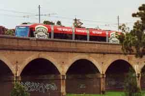 Modern trams (aka Light Rail Vehicles) now use the viaduct over Bi-Centennial Park