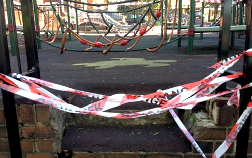 Cordoned-off playground equipment in need of replacement at Glebe Public School (Source: Anna Playford).