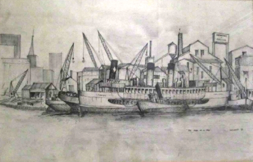 Sketch by Alan Linklater of Strides Shipbreaking yards at the end of Balmain point, 1964 (image: Alan Linklater)
