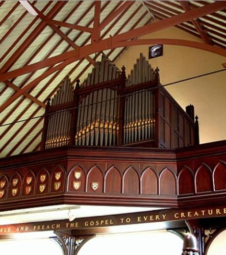 The Hill & Son pipe organ of St Barnabas' Church, Broadway, installed in 1880 and tuned by Charlie Wood, the third in a family of organ builders. It was destroyed when the building burnt down in 2006. (Image: http://www.sydneyorgan.com/StBarn.html)