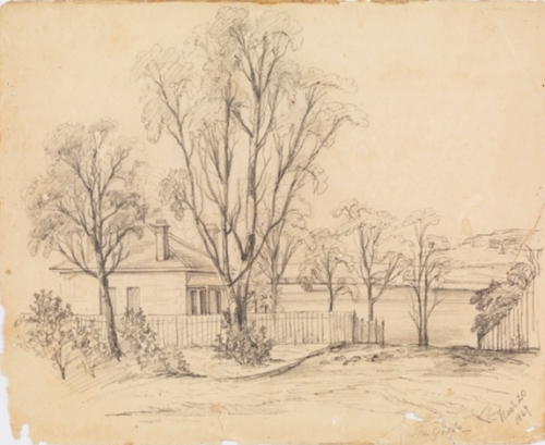 The Retreat in 1867, sketched by Edmund Blacket's daughter Edith who had studied with Conrad Martens. (image: State Library of NSW)