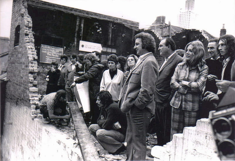 The Rocks Green Ban with Jack Mundey, Meredith Burgmann, Nellie Leonard, Peter Wright, 1973 (photo: courtesy Fairfax, supplied by Meredith Burgmann)