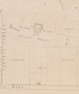 Late 19th century subdivision plan showing Toxteth Park house and chapel. The building hatched on the 'Main Road' is probably Elim.