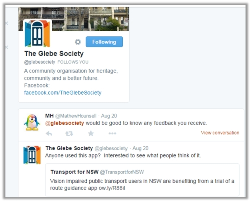 A screenshot of the Glebe Society's twitter feed. (Click on the image to go to the the Society's twitter page)