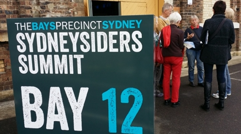 Glebe Society representatives discussion outside the Sydneysiders Summit. (Image V. Simpson-Young)