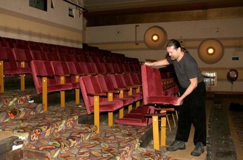 Valhalla Cinema, formerly the Astor. Chief projectionist, George Gilbey, removes seats as the contents of the cinema goes up for sale. (image: Edwina Pickles/Fairfax Syndication)