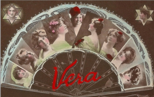 A personalised card, a collage of popular actresses. Stage stars used the picture postcard for publicity. (image provided by Lydia Bushell)