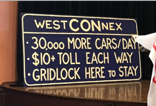 A sign at the 'Stop WestCONnex'meeting at Glebe Town Hall on Monday 24 October (image: Jan Wilson)