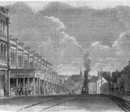 Glebe Road from St Johns  Road was sketched,  Edward Hinder's dispensary was open for business just beyond the steam tram on the left hand side.  The spire of the Presbyterian Church, relocated to Bridge  Road in 1927, can be seen in the distance on Parramatta Road.