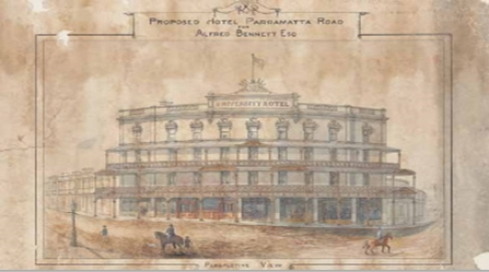 Alfred Bennett's 1890 plans for alterations after he was taken to court by Glebe Council and ordered to set back a balcony from the street and remove an unauthorised awning.(image: National Library of Australia)