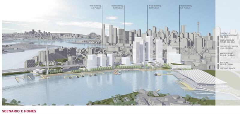 Blackwattle Bay Precinct Planning Scenario 1 (photo: Infrastructure NSW)