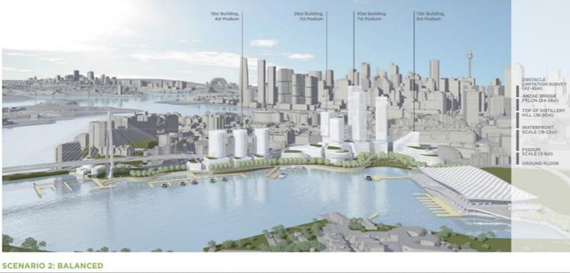 Blackwattle Bay Precinct Planning Scenario 2 (photo: Infrastructure NSW)