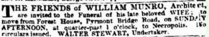 The friends of William Munro, Architect are invited to the funeral of his late beloved wife Caroline, 1880